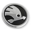 EMBLEMAT,Logo-Znak okrągły,czarno-srebrny SKODA n.typ Fabia II/III,Roomster,Octavia III